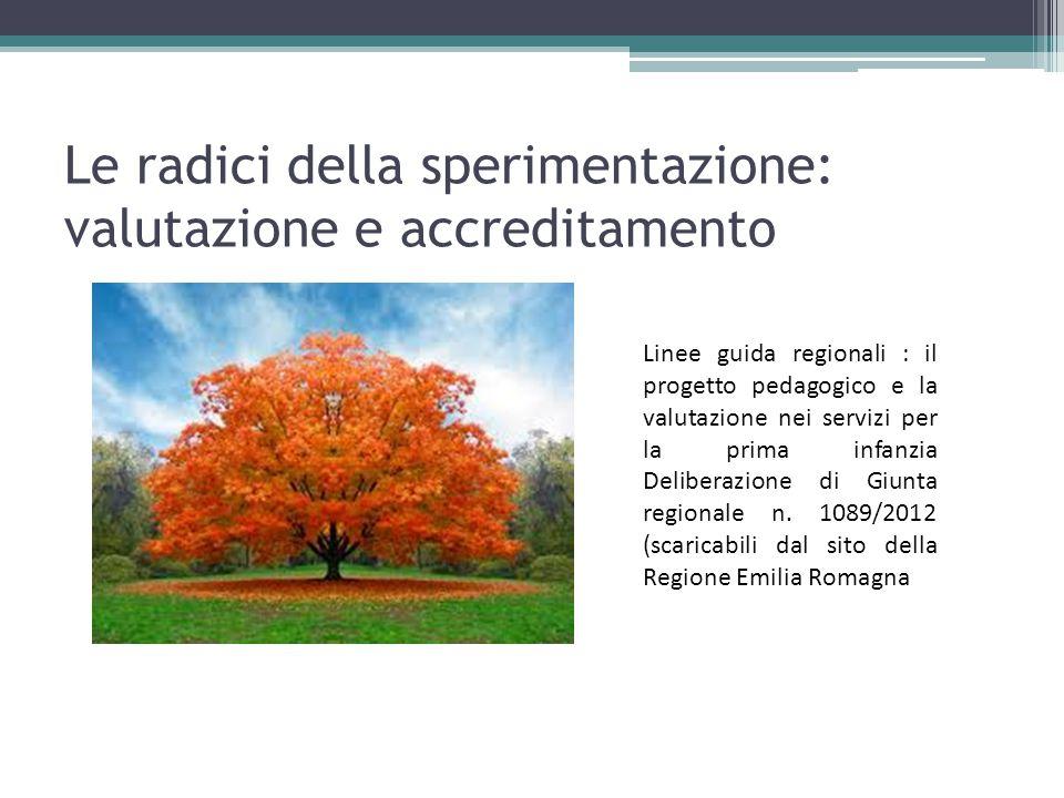 Le radici della sperimentazione: valutazione e accreditamento Linee guida regionali : il progetto pedagogico e la valutazione nei servizi per la prima