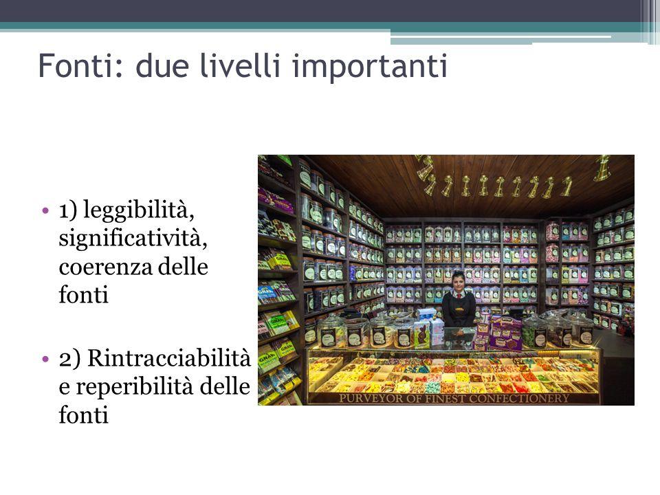 Fonti: due livelli importanti 1) leggibilità, significatività, coerenza delle fonti 2) Rintracciabilità e reperibilità delle fonti