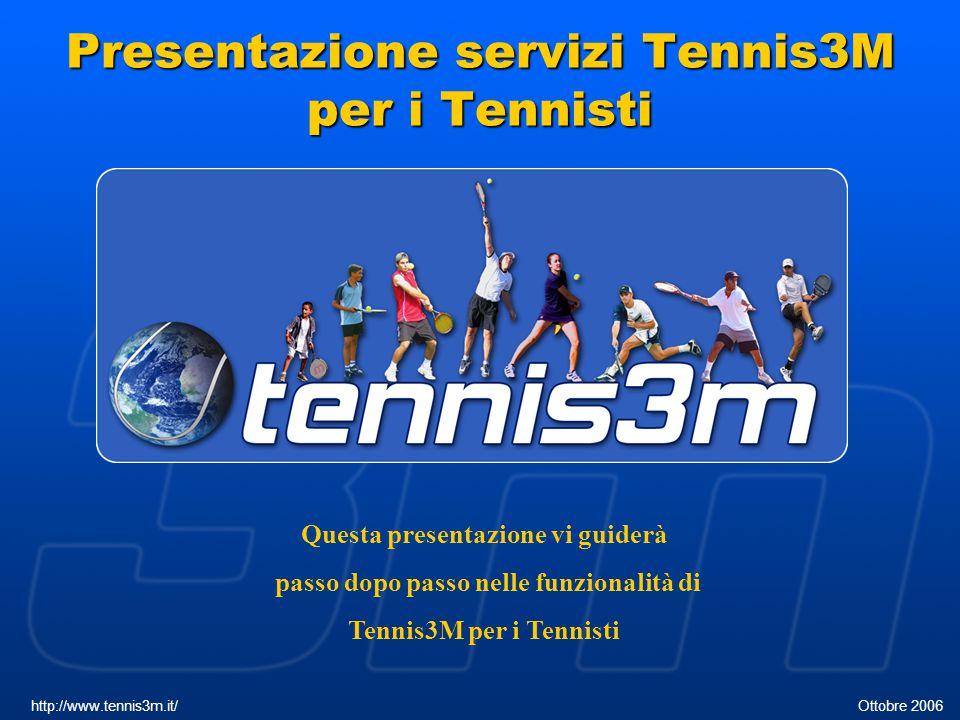 Presentazione servizi Tennis3M per i Tennisti http://www.tennis3m.it/ Ottobre 2006 Questa presentazione vi guiderà passo dopo passo nelle funzionalità