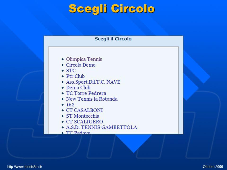 Scegli Circolo http://www.tennis3m.it/ Ottobre 2006