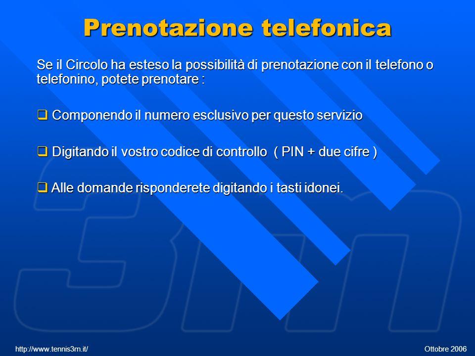 Prenotazione telefonica Se il Circolo ha esteso la possibilità di prenotazione con il telefono o telefonino, potete prenotare :  Componendo il numero