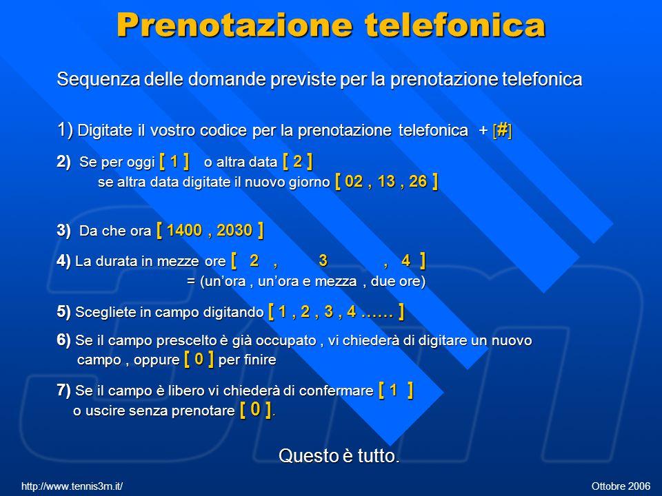 Prenotazione telefonica Sequenza delle domande previste per la prenotazione telefonica 1) Digitate il vostro codice per la prenotazione telefonica + [