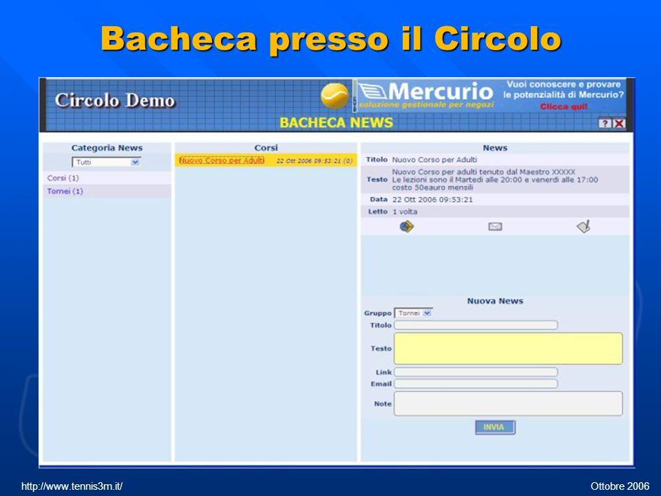 Bacheca presso il Circolo http://www.tennis3m.it/ Ottobre 2006