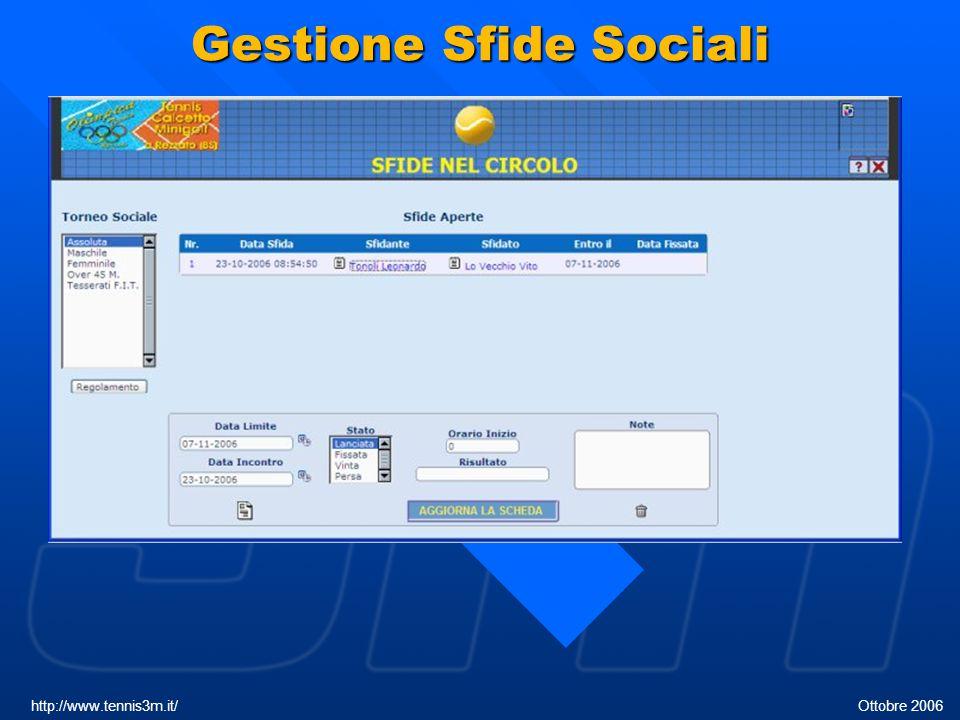 Gestione Sfide Sociali http://www.tennis3m.it/ Ottobre 2006