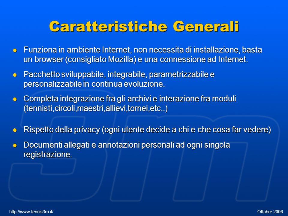 Caratteristiche Generali Funziona in ambiente Internet, non necessita di installazione, basta un browser (consigliato Mozilla) e una connessione ad In