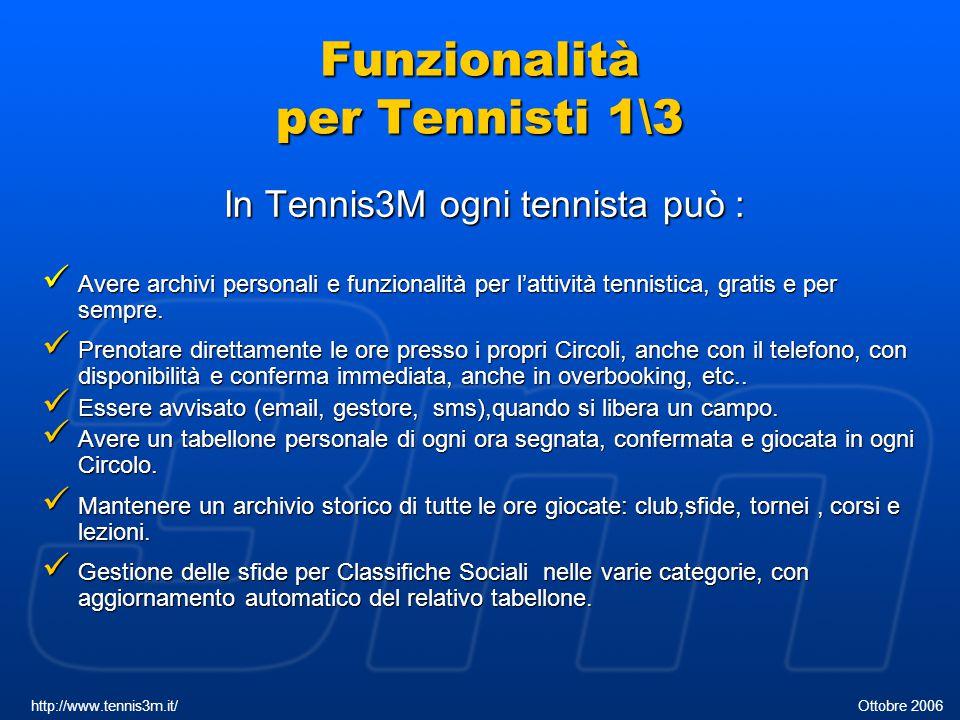 Funzionalità per Tennisti 2\3 Seguire il calendario provinciale dei Tornei.
