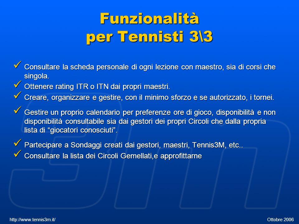 Pannello di Controllo http://www.tennis3m.it/ Ottobre 2006