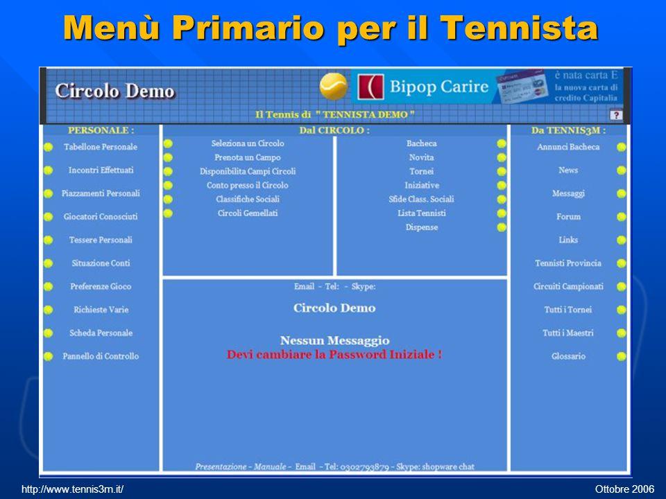 Scheda personale http://www.tennis3m.it/ Ottobre 2006