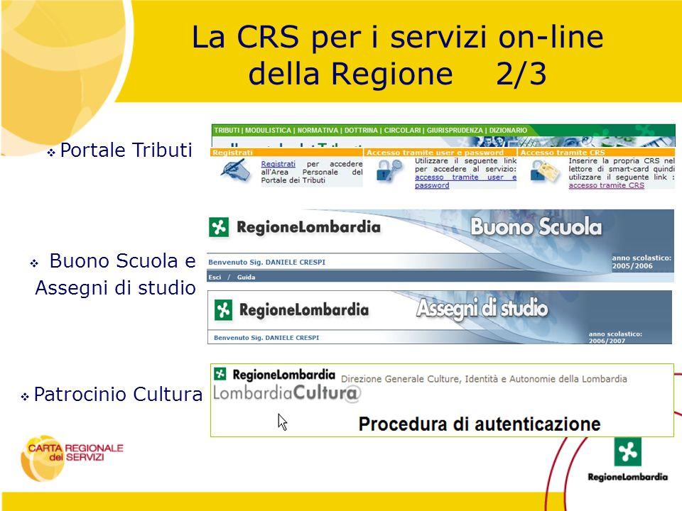  Patrocinio Cultura  Buono Scuola e Assegni di studio La CRS per i servizi on-line della Regione 2/3  Portale Tributi