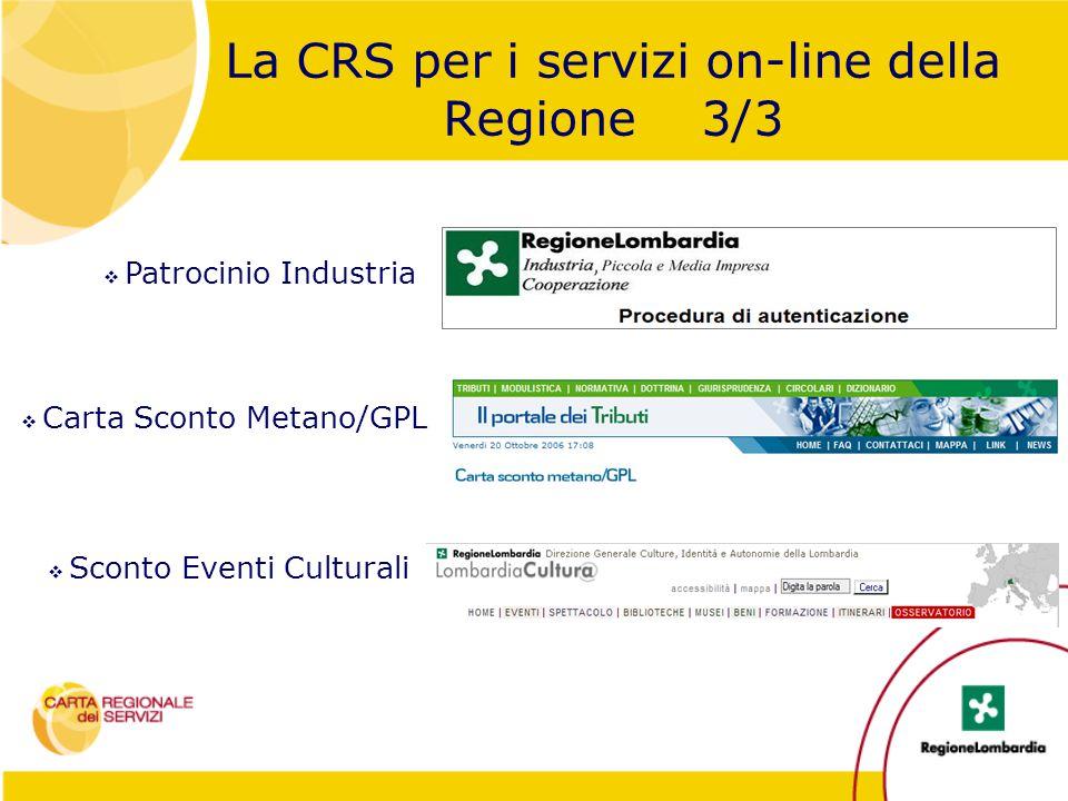 La CRS per i servizi on-line della Regione 3/3  Patrocinio Industria  Carta Sconto Metano/GPL  Sconto Eventi Culturali