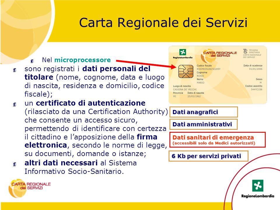 Carta Regionale dei Servizi 4 Nel microprocessore 4 sono registrati i dati personali del titolare (nome, cognome, data e luogo di nascita, residenza e