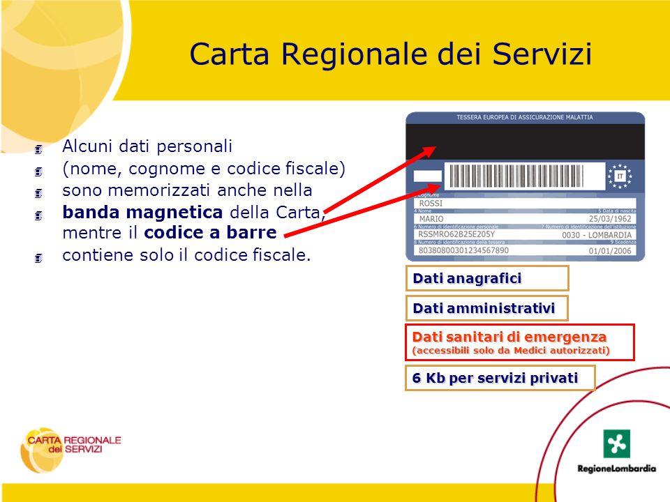 Carta Regionale dei Servizi 4 Alcuni dati personali 4 (nome, cognome e codice fiscale) 4 sono memorizzati anche nella 4 banda magnetica della Carta, m