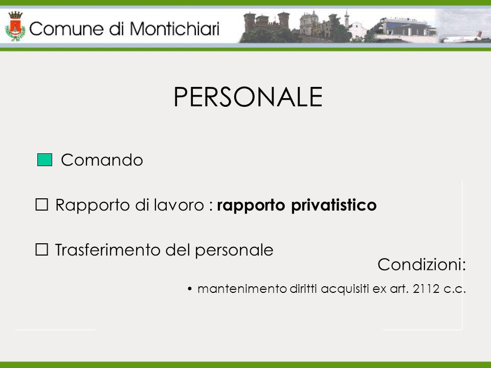 PERSONALE Rapporto di lavoro : rapporto privatistico Trasferimento del personale Condizioni: mantenimento diritti acquisiti ex art.