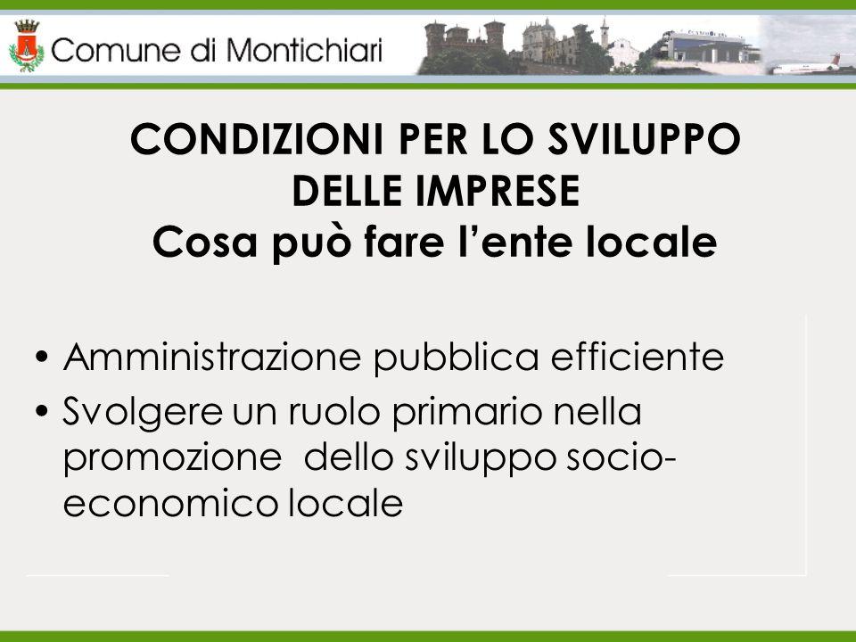 CONDIZIONI PER LO SVILUPPO DELLE IMPRESE Cosa può fare l'ente locale Amministrazione pubblica efficiente Svolgere un ruolo primario nella promozione dello sviluppo socio- economico locale