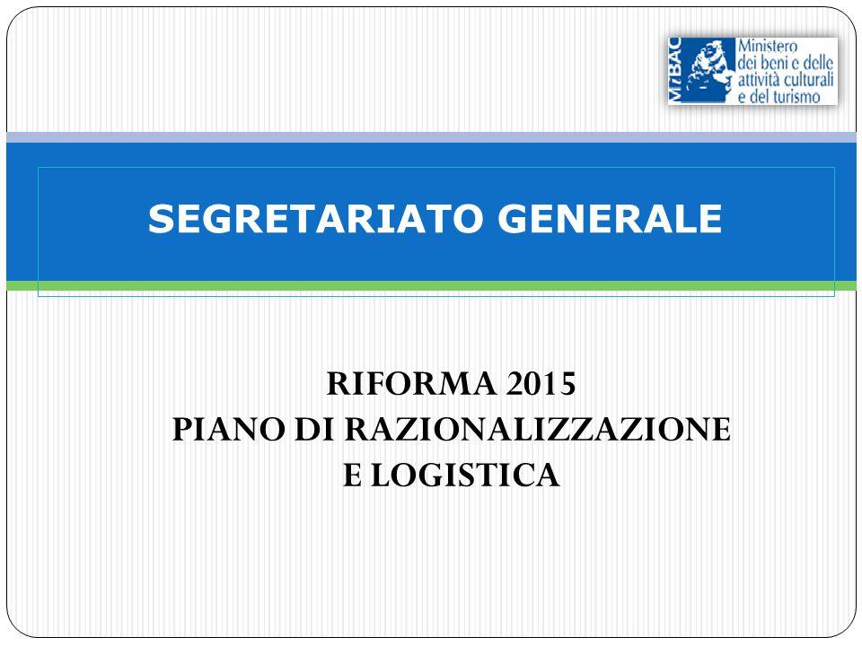 SEGRETARIATO GENERALE RIFORMA 2015 PIANO DI RAZIONALIZZAZIONE E LOGISTICA