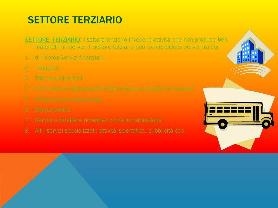 SETTORE TERZIARIO SETTORE TERZIARIO: il settore terziario invece le attività che non produce beni materiali ma servizi. Il settore terziario può forni