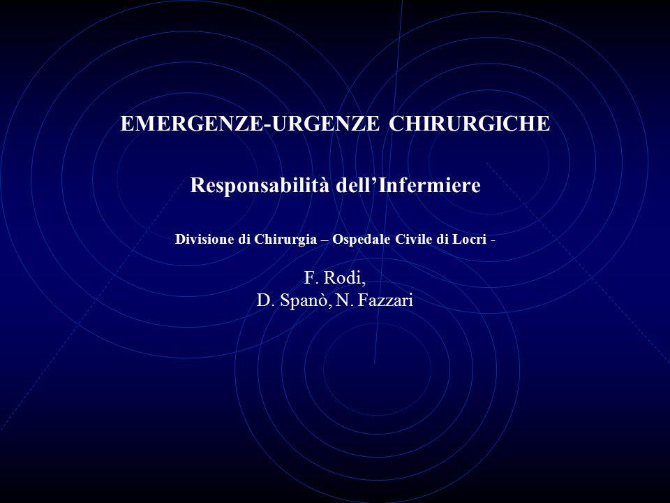 EMERGENZE-URGENZE CHIRURGICHE Responsabilità dell'Infermiere Divisione di Chirurgia – Ospedale Civile di Locri - F. Rodi, D. Spanò, N. Fazzari