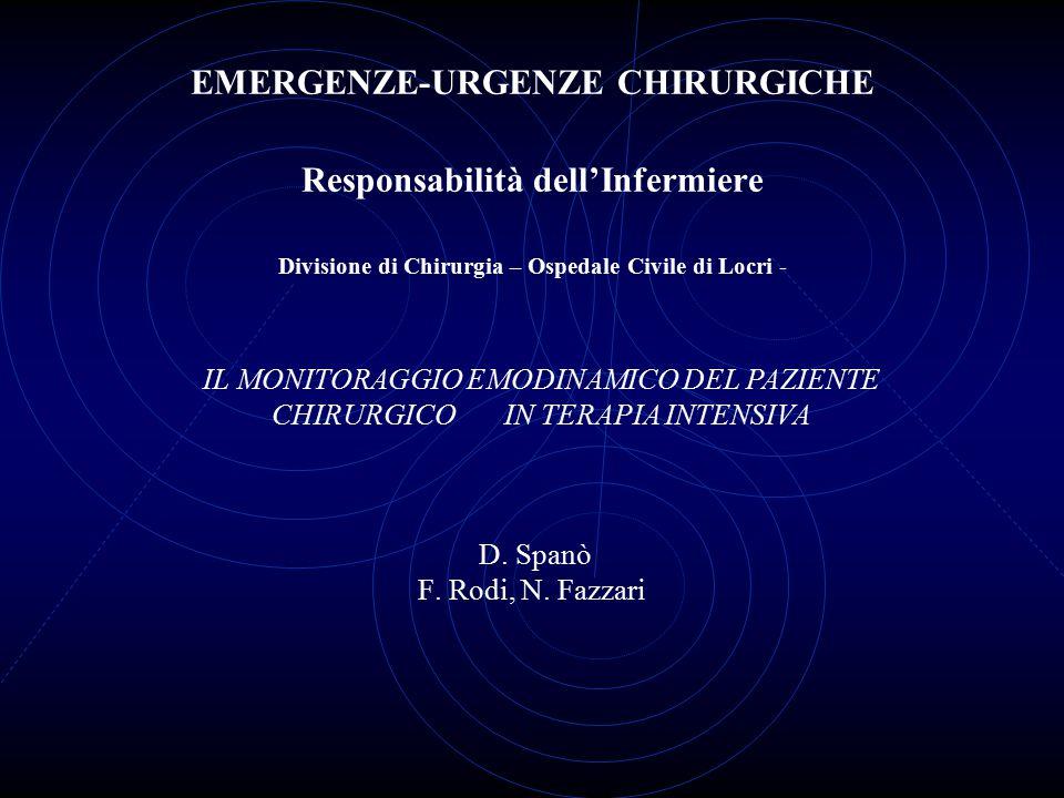 EMERGENZE-URGENZE CHIRURGICHE Responsabilità dell'Infermiere Divisione di Chirurgia – Ospedale Civile di Locri - D. Spanò F. Rodi, N. Fazzari IL MONIT
