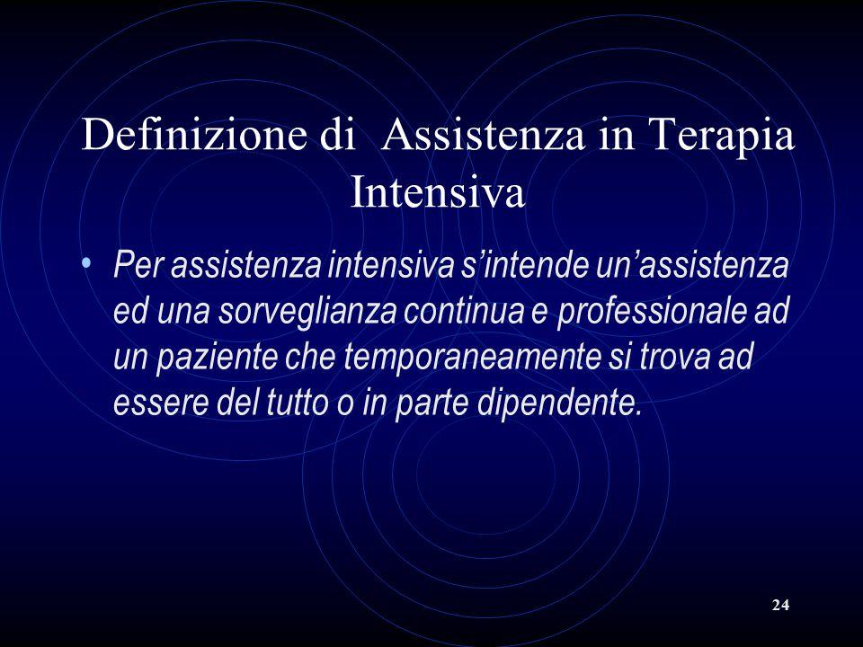 24 Definizione di Assistenza in Terapia Intensiva Per assistenza intensiva s'intende un'assistenza ed una sorveglianza continua e professionale ad un