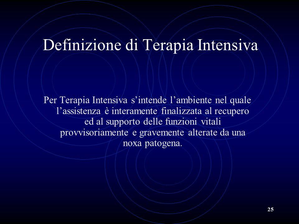25 Definizione di Terapia Intensiva Per Terapia Intensiva s'intende l'ambiente nel quale l'assistenza è interamente finalizzata al recupero ed al supp
