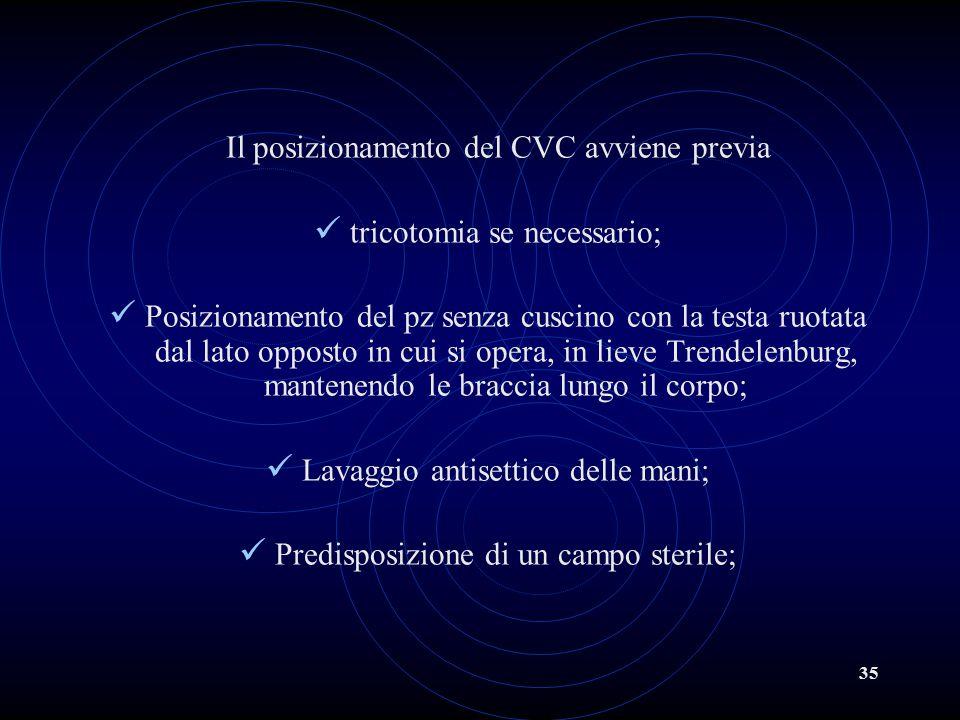 35 Il posizionamento del CVC avviene previa tricotomia se necessario; Posizionamento del pz senza cuscino con la testa ruotata dal lato opposto in cui
