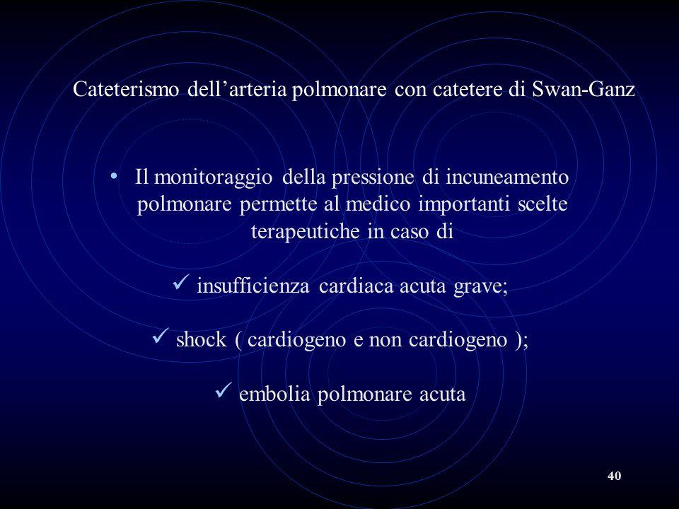 40 Cateterismo dell'arteria polmonare con catetere di Swan-Ganz Il monitoraggio della pressione di incuneamento polmonare permette al medico important