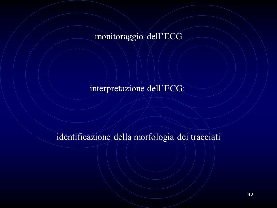 42 monitoraggio dell'ECG interpretazione dell'ECG: identificazione della morfologia dei tracciati