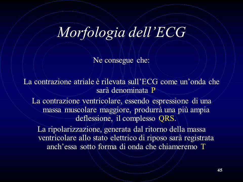 45 Morfologia dell'ECG Ne consegue che: La contrazione atriale è rilevata sull'ECG come un'onda che sarà denominata P La contrazione ventricolare, ess