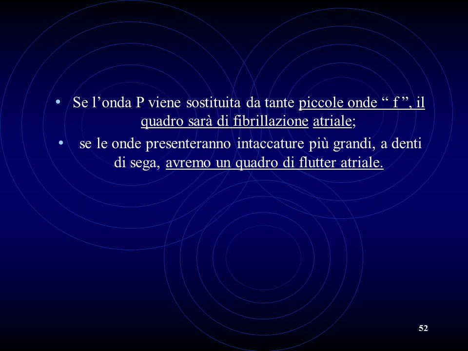 """52 Se l'onda P viene sostituita da tante piccole onde """" f """", il quadro sarà di fibrillazione atriale; se le onde presenteranno intaccature più grandi,"""