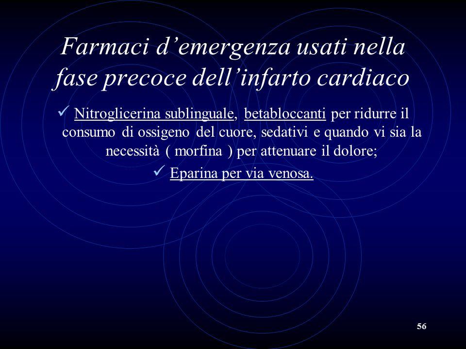 56 Farmaci d'emergenza usati nella fase precoce dell'infarto cardiaco Nitroglicerina sublinguale, betabloccanti per ridurre il consumo di ossigeno del