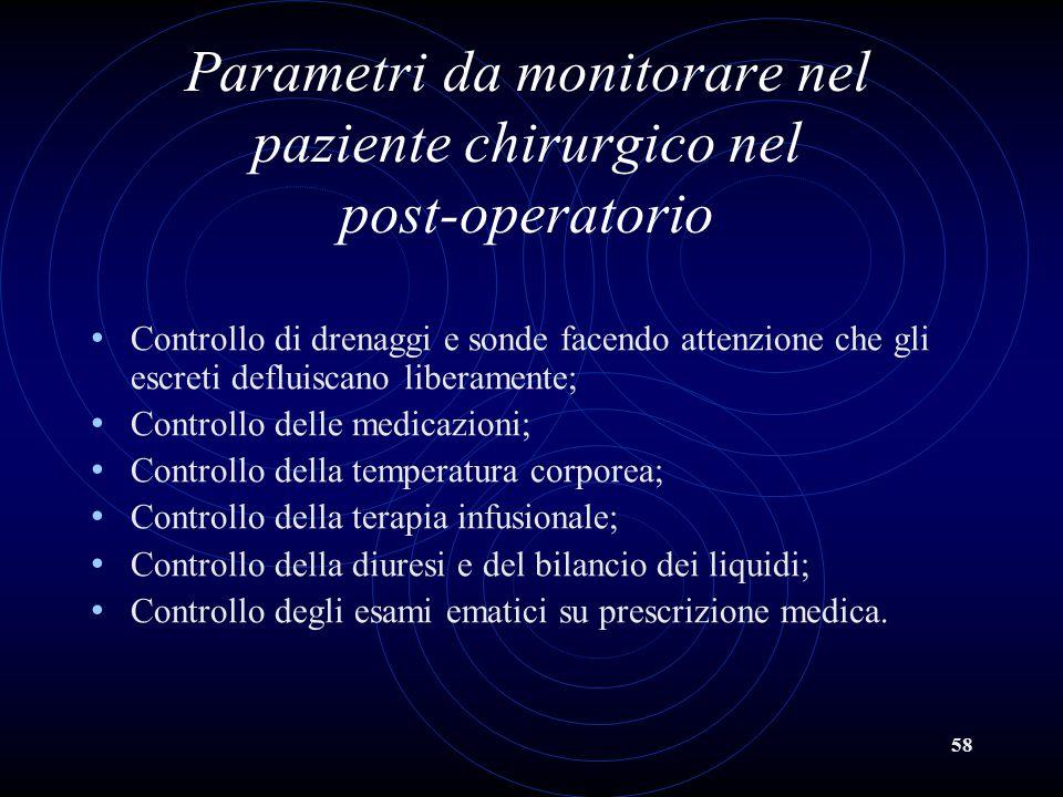 58 Parametri da monitorare nel paziente chirurgico nel post-operatorio Controllo di drenaggi e sonde facendo attenzione che gli escreti defluiscano li
