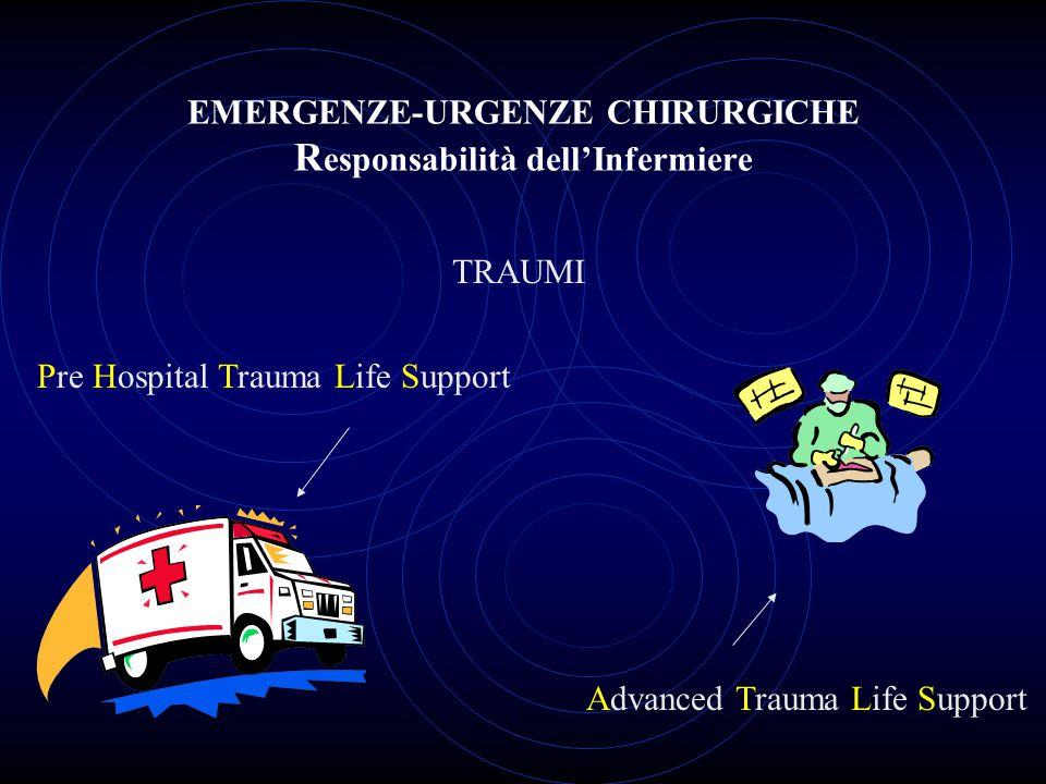 EMERGENZE-URGENZE CHIRURGICHE R esponsabilità dell'Infermiere TRAUMI Pre Hospital Trauma Life Support Advanced Trauma Life Support