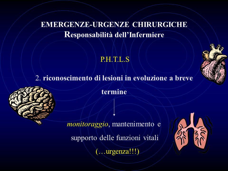 EMERGENZE-URGENZE CHIRURGICHE R esponsabilità dell'Infermiere 2. riconoscimento di lesioni in evoluzione a breve termine P.H.T.L.S monitoraggio, mante