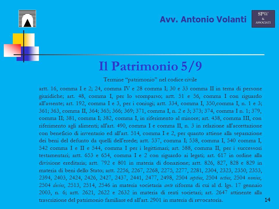 14 Il Patrimonio 5/9 Termine patrimonio nel codice civile artt.