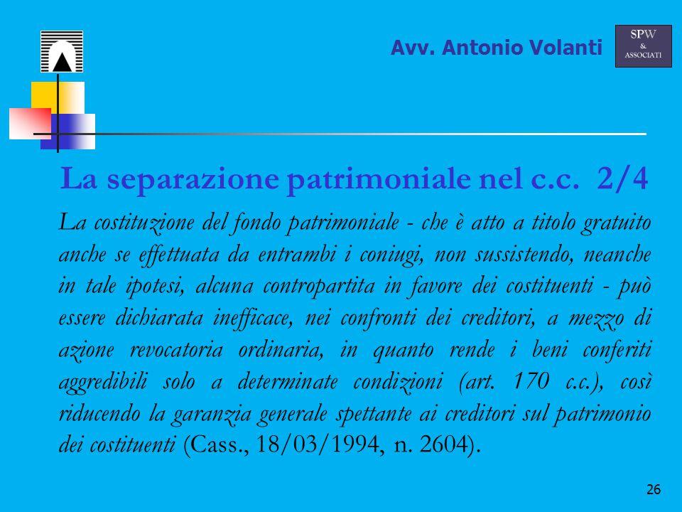 26 La separazione patrimoniale nel c.c.