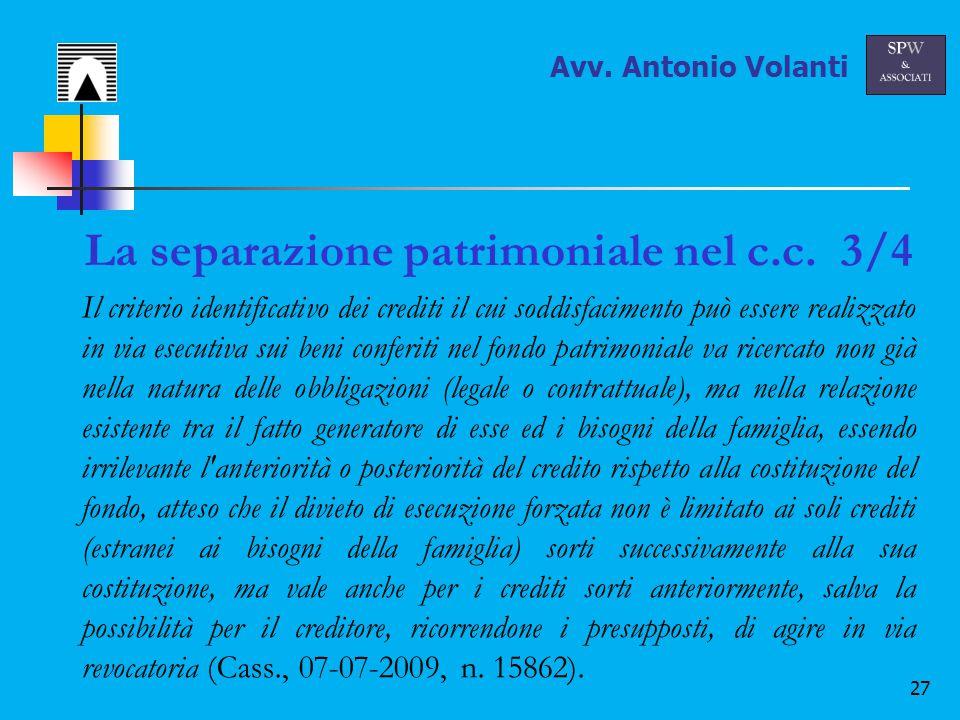 27 La separazione patrimoniale nel c.c.