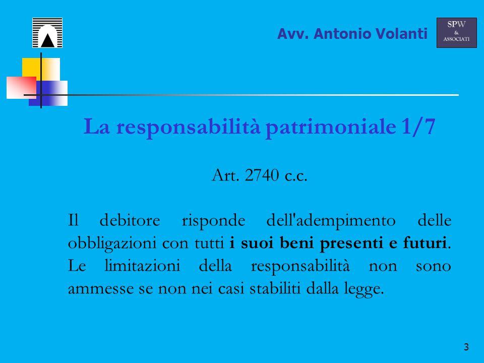 3 La responsabilità patrimoniale 1/7 Art. 2740 c.c.