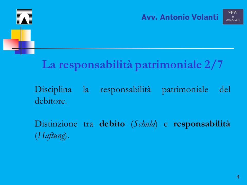 5 La responsabilità patrimoniale 3/7 Principio di universalità / unitarietà Tutti i beni del debitore costituiscono la garanzia generica dell'obbligazione Avv.