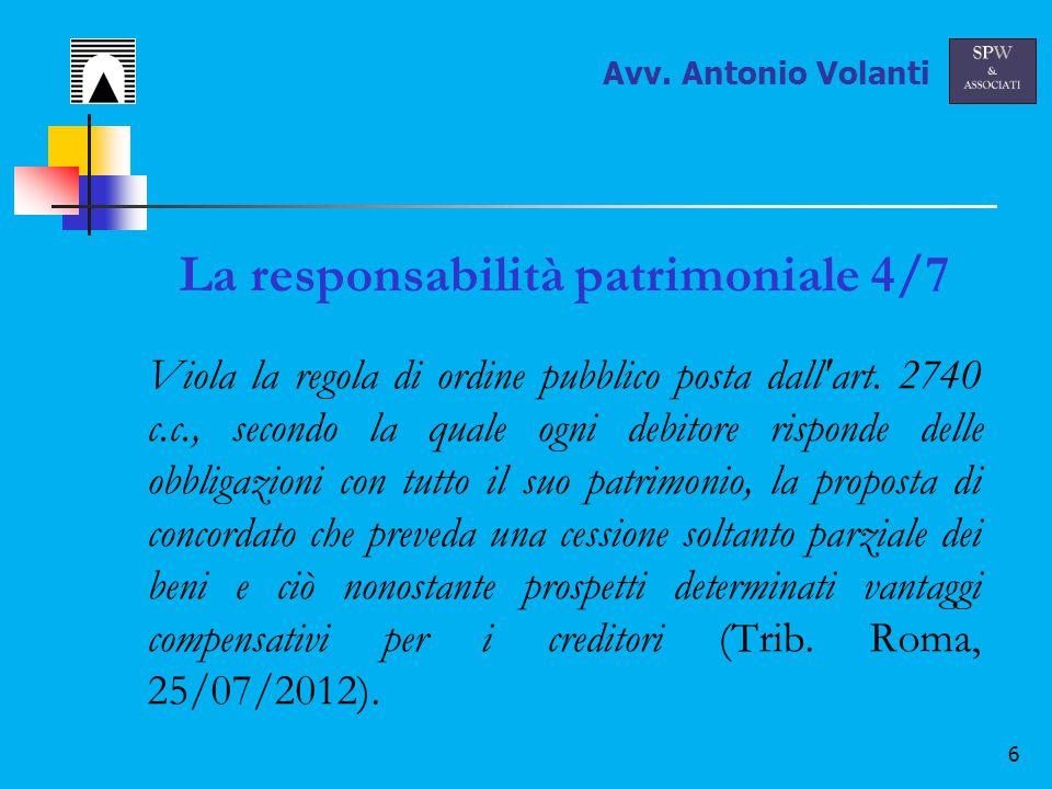 6 La responsabilità patrimoniale 4/7 Viola la regola di ordine pubblico posta dall art.