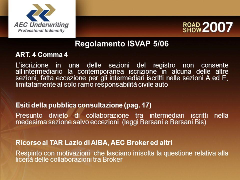 Regolamento ISVAP 5/06 ART.