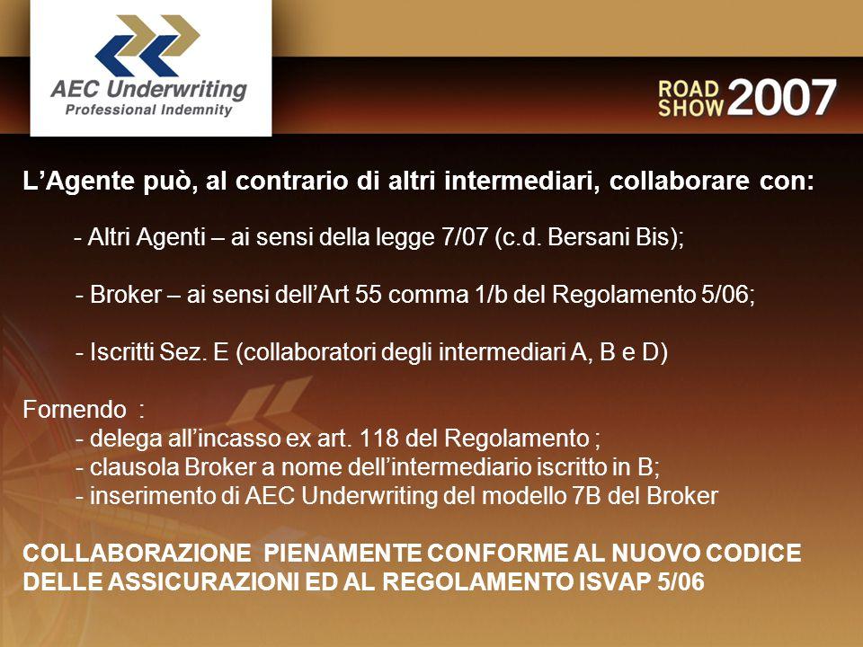  L'Agente può, al contrario di altri intermediari, collaborare con: - Altri Agenti – ai sensi della legge 7/07 (c.d.