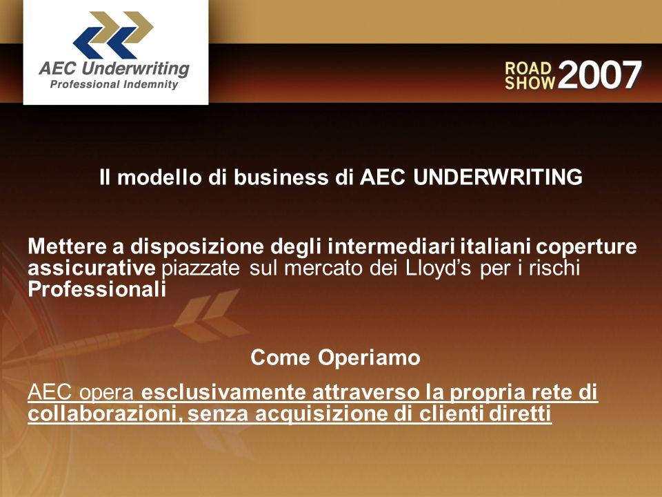 Il modello di business di AEC UNDERWRITING Mettere a disposizione degli intermediari italiani coperture assicurative piazzate sul mercato dei Lloyd's per i rischi Professionali Come Operiamo AEC opera esclusivamente attraverso la propria rete di collaborazioni, senza acquisizione di clienti diretti