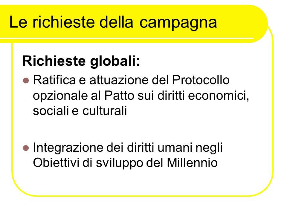Le richieste della campagna Richieste globali: Ratifica e attuazione del Protocollo opzionale al Patto sui diritti economici, sociali e culturali Integrazione dei diritti umani negli Obiettivi di sviluppo del Millennio