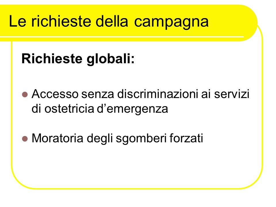 Le richieste della campagna Richieste globali: Accesso senza discriminazioni ai servizi di ostetricia d'emergenza Moratoria degli sgomberi forzati