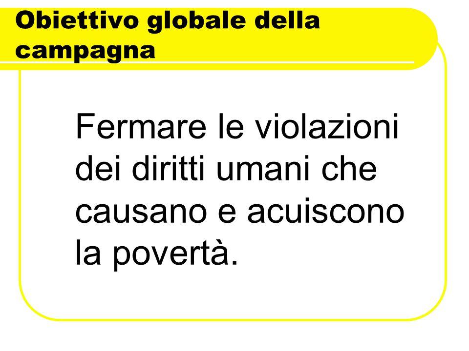 Obiettivo globale della campagna Fermare le violazioni dei diritti umani che causano e acuiscono la povertà.