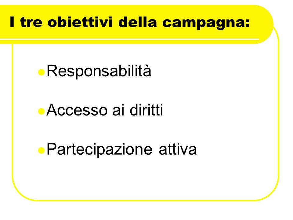 I tre obiettivi della campagna: Responsabilità Accesso ai diritti Partecipazione attiva