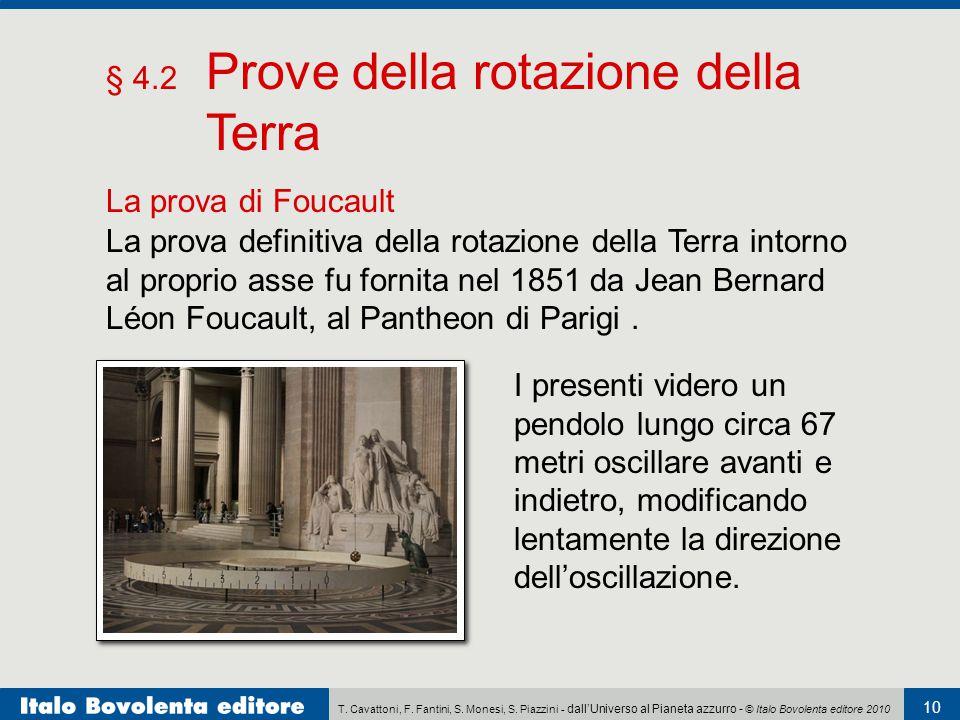 T. Cavattoni, F. Fantini, S. Monesi, S. Piazzini - dall'Universo al Pianeta azzurro - © Italo Bovolenta editore 2010 10 § 4.2 Prove della rotazione de