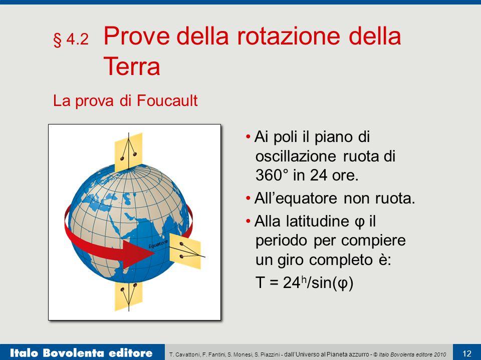 T. Cavattoni, F. Fantini, S. Monesi, S. Piazzini - dall'Universo al Pianeta azzurro - © Italo Bovolenta editore 2010 12 § 4.2 Prove della rotazione de