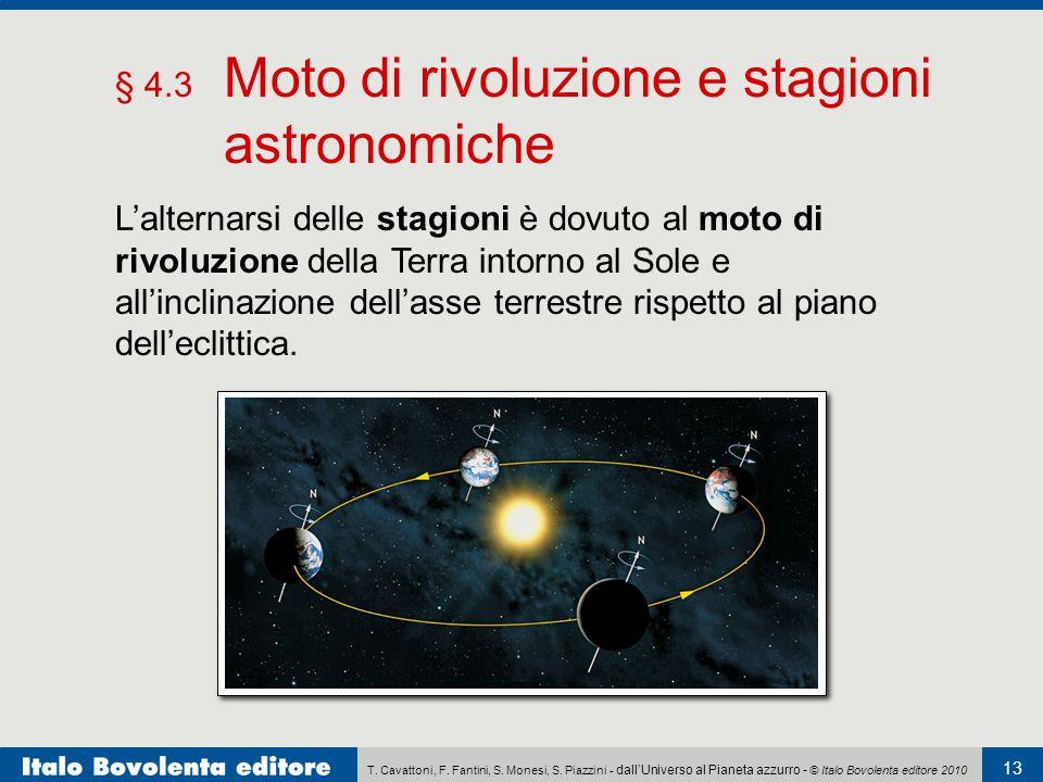 T. Cavattoni, F. Fantini, S. Monesi, S. Piazzini - dall'Universo al Pianeta azzurro - © Italo Bovolenta editore 2010 13 § 4.3 Moto di rivoluzione e st