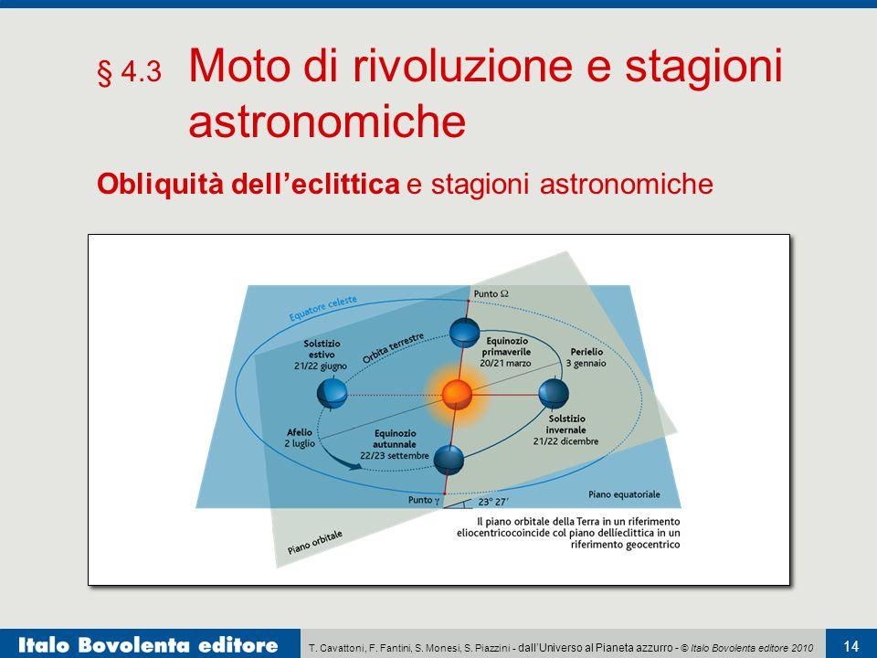 T. Cavattoni, F. Fantini, S. Monesi, S. Piazzini - dall'Universo al Pianeta azzurro - © Italo Bovolenta editore 2010 14 § 4.3 Moto di rivoluzione e st